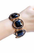 "1.25"" Wide Black Glass & Crystals Stretch Bracelet, Drag Queen, Pageant - $23.70"
