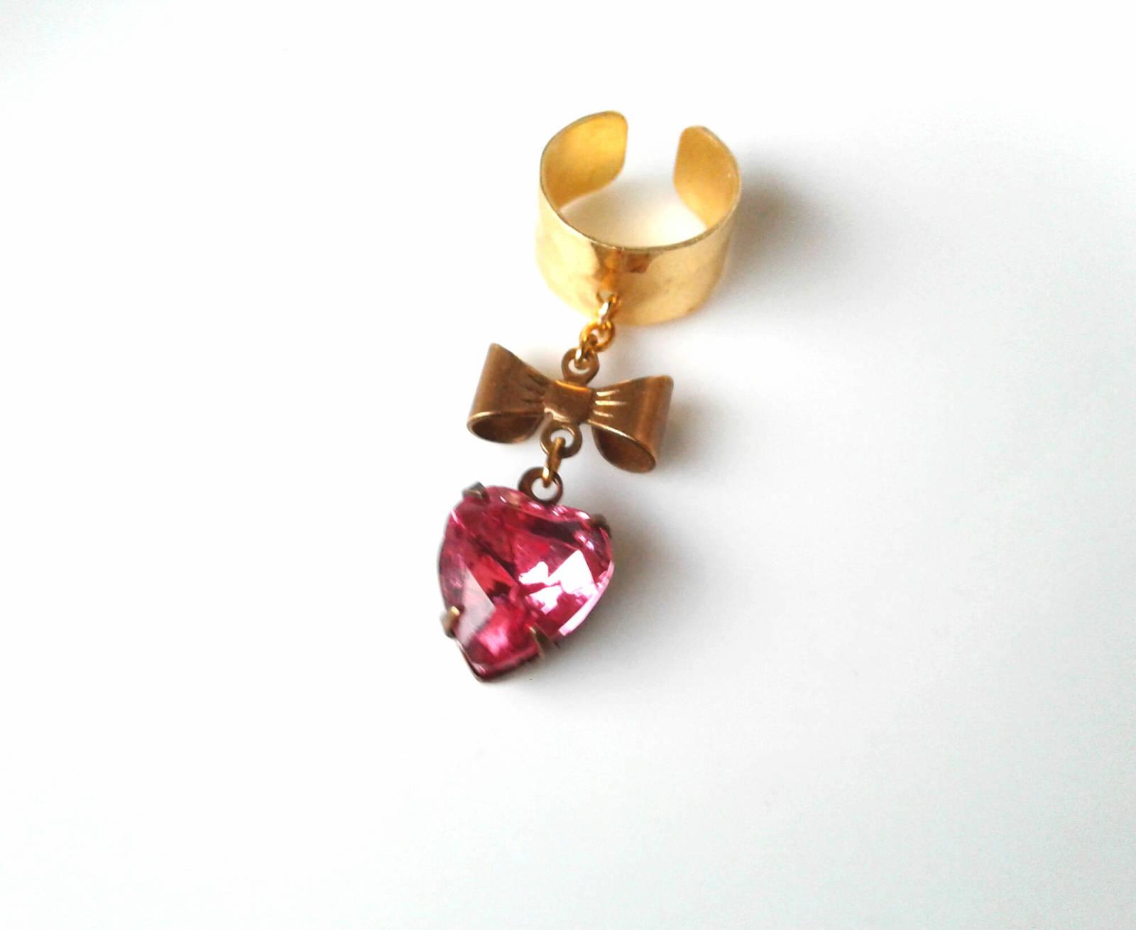 Heart gem ear cuff bow ear cuff rare antique gem e