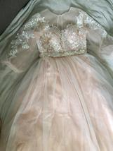 Lace Appliques A-Line Wedding Dress Lantern Sleeves Tulle Boho Wedding Gown image 4
