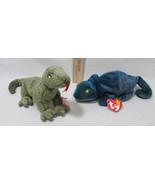 Ty Beanie Babies Stuffed Animal Lizard Rainbow Chameleon 1997 & Scaly 1999 - $12.22