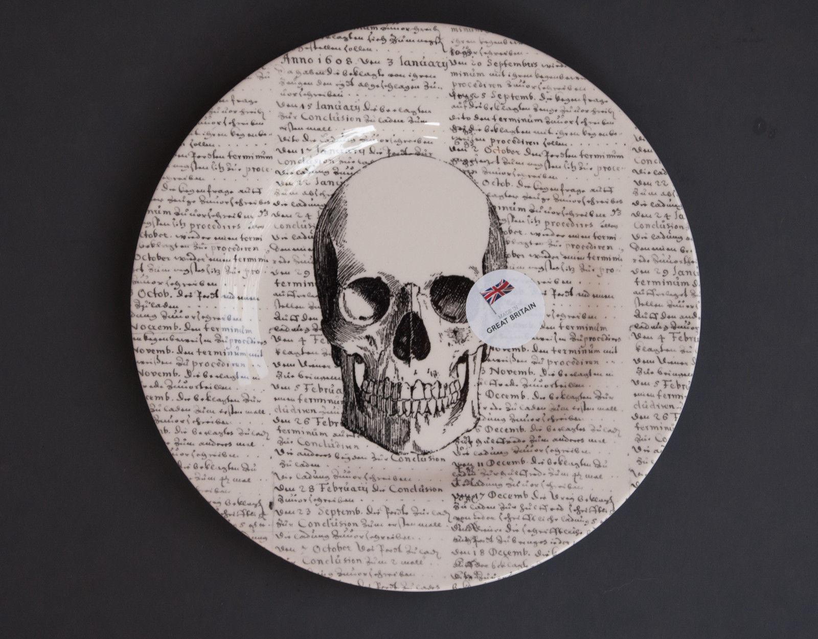 Victorian English Pottery Skull and Script salad plates Royal Stafford Halloween - $47.51 & Royal Stafford Plates: 2 listings
