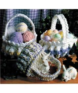 CROCHET BASKETS Pattern Instructions 2 Sizes QUICK-to-MAKE Soft Chunky - $2.99