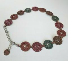 Fossil Boho Womens 35 36 28 40 Belt Medallion Chain Studded Star Leather... - $48.37