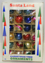 24 Small Vintage Glass Christmas Ornaments Indents Stripes Solids - $25.00