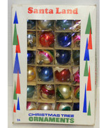 24 Small Vintage Glass Christmas Ornaments Indents Stripes Solids - $24.99