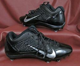 NIKE ALPHA PRO Football Spikes 599008-002 sz 15 Black/Silver New Unworn No Box - $27.40