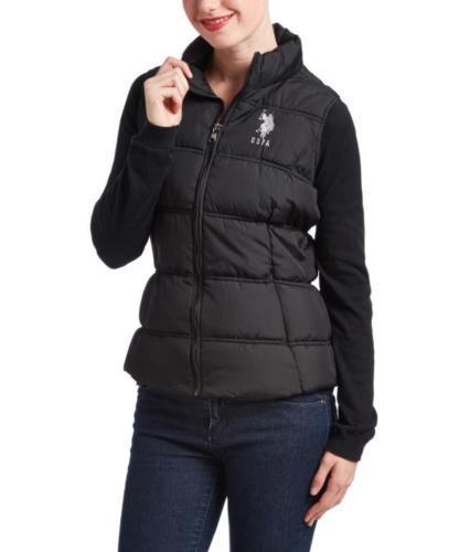 New Us Polo Assn Women's Premium Athletic Plush Puffer Zip Up Vest Black