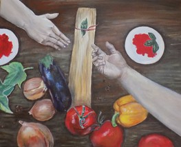 helping hands praying hands at dinner time original acrylic painting med... - $45.00+