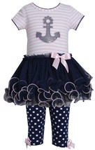 Bonnie Baby Baby Girl 12M-24M Blue Pink Sequin Nautical Anchor Tutu Dress/leggin