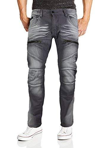 Contender Men's Moto Quilted Zip Distressed Ripped Denim Jeans (38W x 32L, 9FT23
