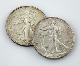 Lot of 2 1937 + 1941-S 50C Walking Liberty Half Dollars AU Condition - $54.44