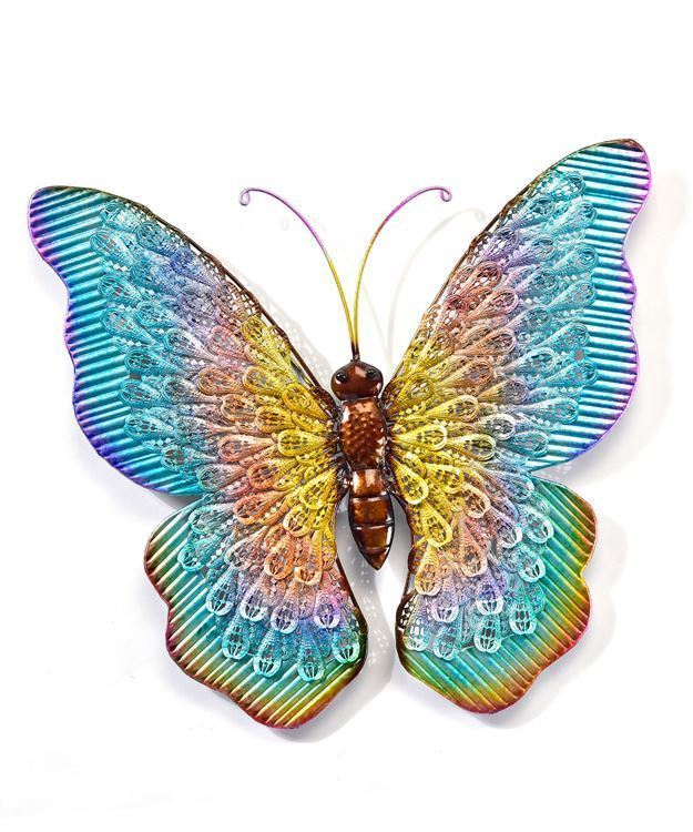 "20""  Metal Butterfly Design Wall Plaque - Blue, Green, Purple w Gold Detailing"