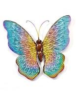 "20""  Metal Butterfly Design Wall Plaque - Blue, Green, Purple w Gold Det... - $79.19"