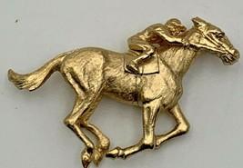 Napier Goldtone Jockey On Horse Brooch Pin Signed 21-0231 - $23.70