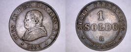 1866-XXIR Italian States Papal States 1 Soldo World Coin - Pius IX - $34.99