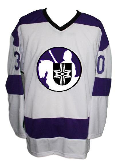 Gerry cheevers cleveland crusaders 1973 hockey jersey white   1