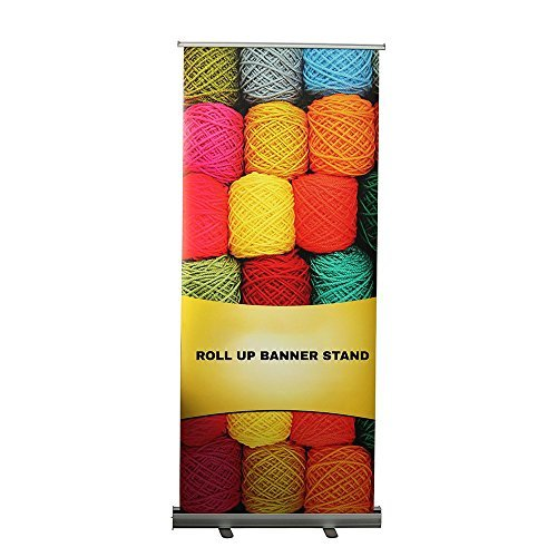 Retractable Roll-Up Adjustable Banner Stand - Vertical Sign Holder for Trade Sho