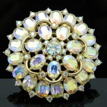 VTG Mid Century CROWN TRIFARI Pastel AB Rhinestone Flower Pin Brooch - $91.08