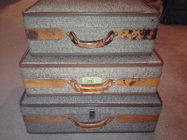 Set of 3 VIntage Hartmann Tweed & Leather Toile Interior Suitcases Mid-C... - $261.36