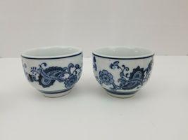 Pier 1 Imports Porcelain Tea Cups Sake Set of 4 White Blue Floral Dish Safe image 6