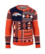 Ugly Christmas Sweater Nfl Denver Broncos Patches Football Xmas Crew Neck - £40.20 GBP+