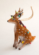 Pottery Barn bottle brush sitting reindeer tangled lights Christmas ornament - $17.99