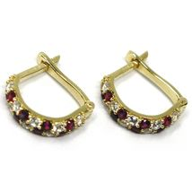 18K YELLOW GOLD MINI 10mm CIRCLE HOOPS EARRINGS, RED & WHITE CUBIC ZIRCONIA image 3