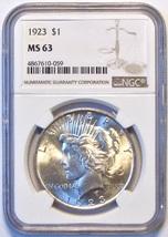 1923 NGC Peace Silver Dollar. MS63. MG20. - $55.00