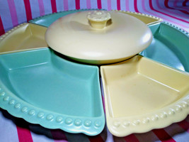 Mid Century William Frazier California Pottery Pastel 8pc Lazy Susan Serve Set - $48.00