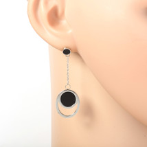 Silver Tone Designer Earrings with Jet Black Faux Onyx Circles & Roman Numerals - $19.99