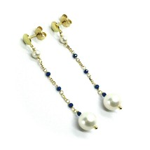 18K YELLOW GOLD PENDANT EARRINGS, FW WHITE PEARLS AND BLUE CUBIC ZIRCONIA - $348.48