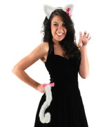 Cute Kitty Halloween Costume with White Ears and Tail Set NEW UNUSED - $12.59