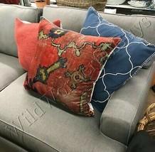 Pottery Barn Dara Pillow Cover Red 22 sq Persian Velvet Floral Rug Design New - $44.50