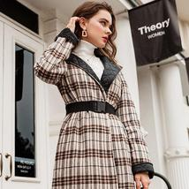 Elegant English Vintage Plaid  Quilted Reversible Full Length Winter Trench Coat image 3