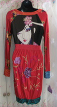 Stunning DESIGUAL bubble Dress RED GOLD Hippy Beautiful Embroidery Excel... - $63.11