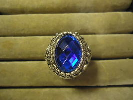 DEEP BLUE BIG GEM RING  ** SIZE 10.75 ** #9457 >> COMBINED SHIPPING  - $4.75