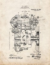 Harley Engine Construction Patent Print - Old Look - $7.95+