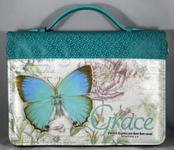 "Bible Cover Grace Blue Botanic Butterfly NEW Medium 6 5/8"" x 9 5/8"" x 1 ... - $26.53"
