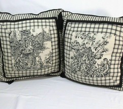 Waverly Wellington Toile Black Cream 16-inch Square Tassel Toss Pillows-Set of 2 - $62.00