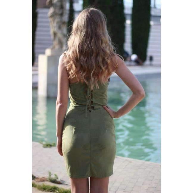 Open Back Suede Lace Up Women Sheath Midi Dress