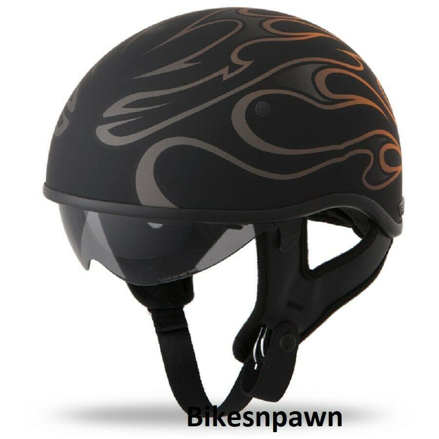 New M Flat Black/Orange Fly Racing DOT Approved .357 Motorcycle Half Helmet