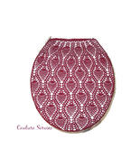 Hand Crocheted Cotton Toilet Tank & Lid Cover Set, Burgundy - $225.00