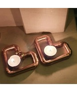 Handmade Copper Tea light candle holders,Love Heart and Rings X2,Valenti... - $11.52