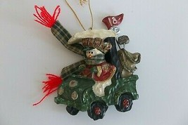 Kurt Adler Christmas Ornament Golf Cart Snowman Golfer Country 18th Hole Cute! - $9.99