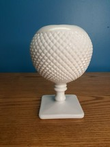 Westmoreland Ball Pedestal Vase Milk Glass Ivy English Hobnail  - $29.70