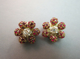 Red Rhinestone Flower Earrings Clip On Cluster Early Plastic Prong Set B... - $19.79