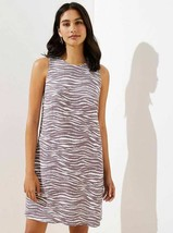New LOFT Zebra Brown White Sleeveless Pocket LinenKeyhole Shift Dress 2 4 - $39.99