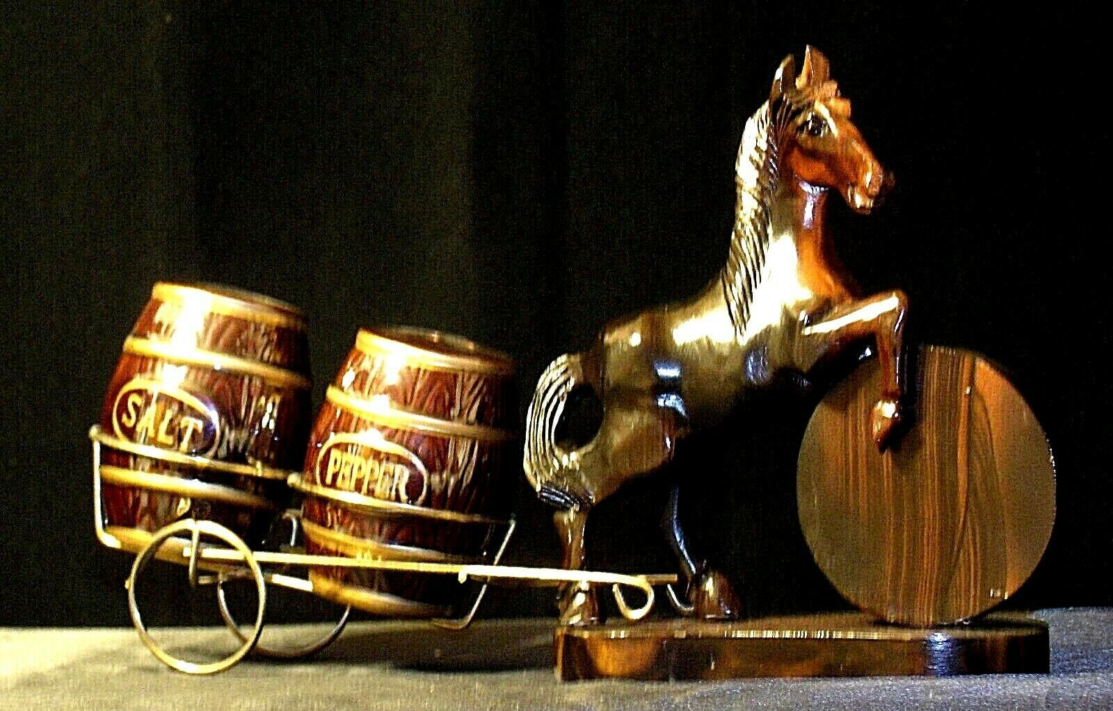 Wooden Hand-Carved Horse with Cart  AA-191719  Vintage Collection