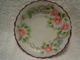 Vintage Hand Painted Saucer With Pink Flowers - $6.99