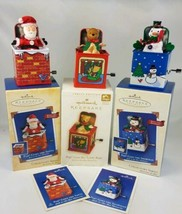 Lot of 3 Hallmark Pop! Ornaments Pop Goes The Santa, Teddy Bear, & Snowman  - $24.70